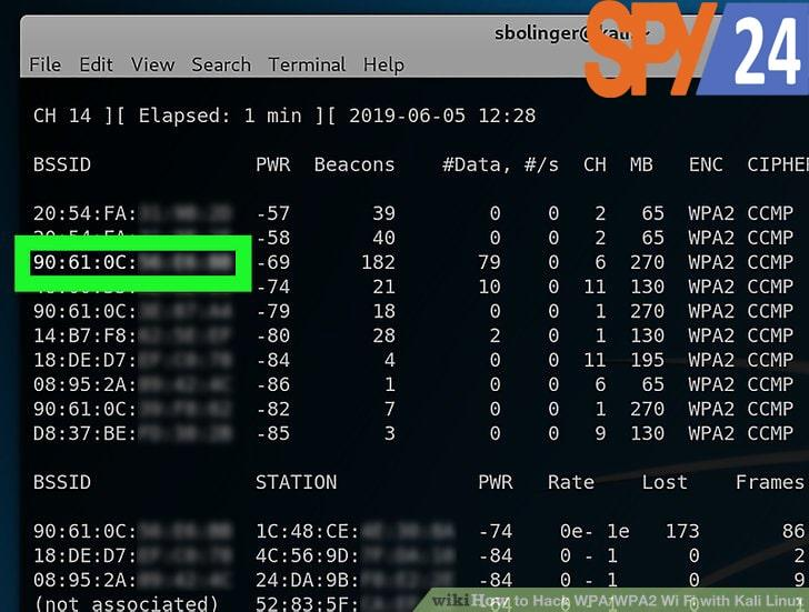 Note the MAC address and channel number of the router